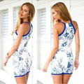2015 Summer Style Women Dress Bodycon Dress Floral Print Sleeveless Off-shoulder Mini Dresses Party Ladies Casual Vestidos 50