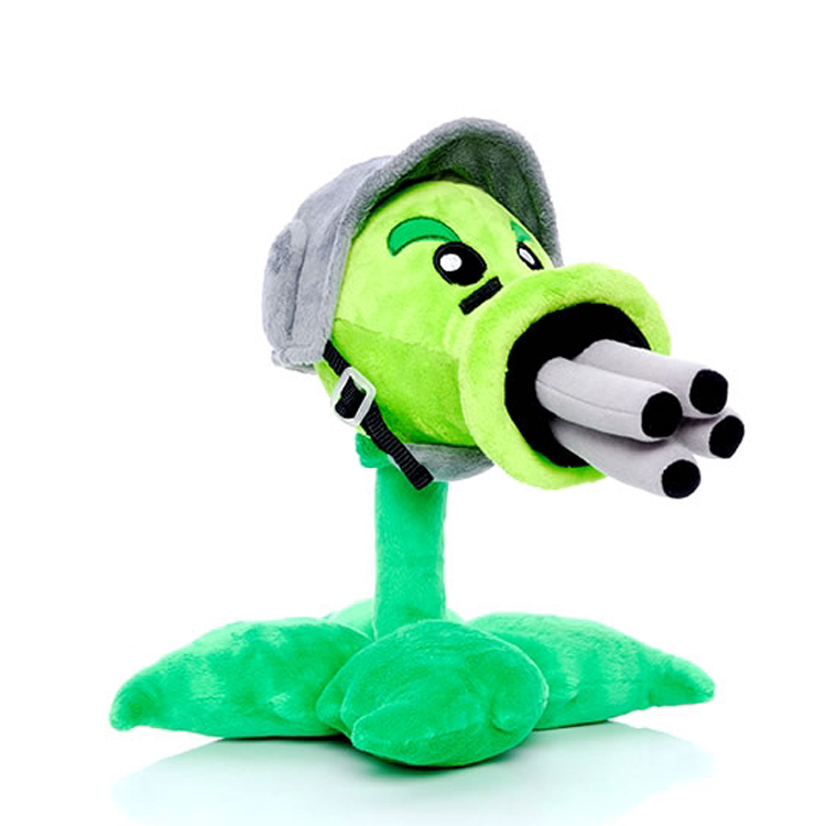 все цены на 30cm Plants vs Zombies Gatling Peashooter Plush Toys Doll Game Plants Vs Zombies Soft Plush Stuffed Toys for Kids Gift Party Toy