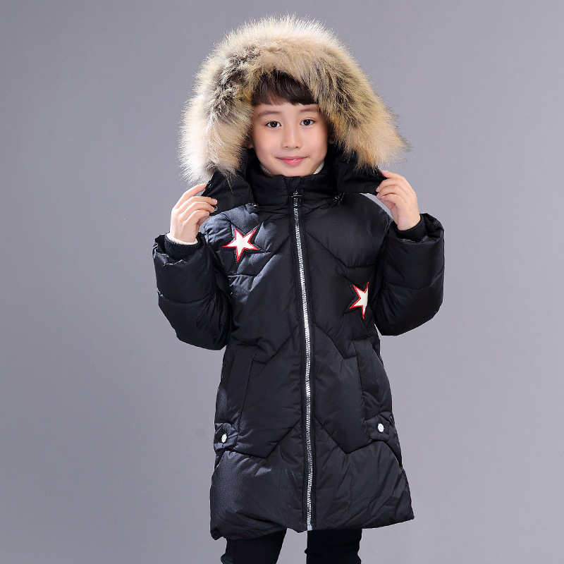 Childrens Winter Jacket Long Thick for Boys Winter Coats Kids Warm Thick Jackets Boy Outerwear Fur Collar  Boys Snowsuit Clothes buenos ninos thick winter children jackets girls boys coats hooded raccoon fur collar kids outerwear duck down padded snowsuit
