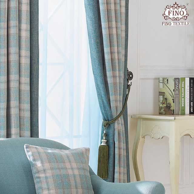 Green Plaid Curtains Fabric For Bedroom Imitation Cashmere Thicker Window Panels Luxury Blinds Insulated Thermal Elegant