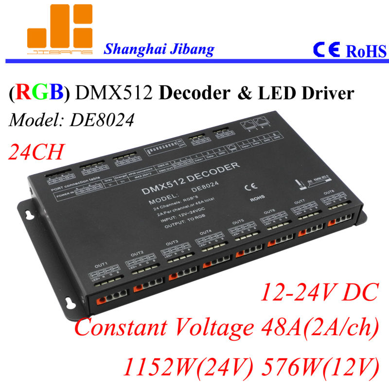 Free Shipping DMX decoder and LED driver,  RGB Controller w/ Dipswitch addressed, 24Channels/12V-24V/48A/1152W pn: DE8024 free shipping 12 channels dmx driver rgb driver led decoder dmx512 12v 24v constant voltage output pwm