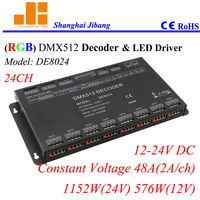 Free Shipping DMX Decoder And LED Driver RGB Controller W Dipswitch Addressed 24Channels 12V 24V 48A