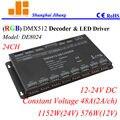 Kostenloser Versand DMX decoder und led treiber  RGB Controller w/Dip schalter angesprochen  24 Kanäle/12 V 24 V/48A/1152 Watt pn: DE8024|RGB-Controller|Licht & Beleuchtung -