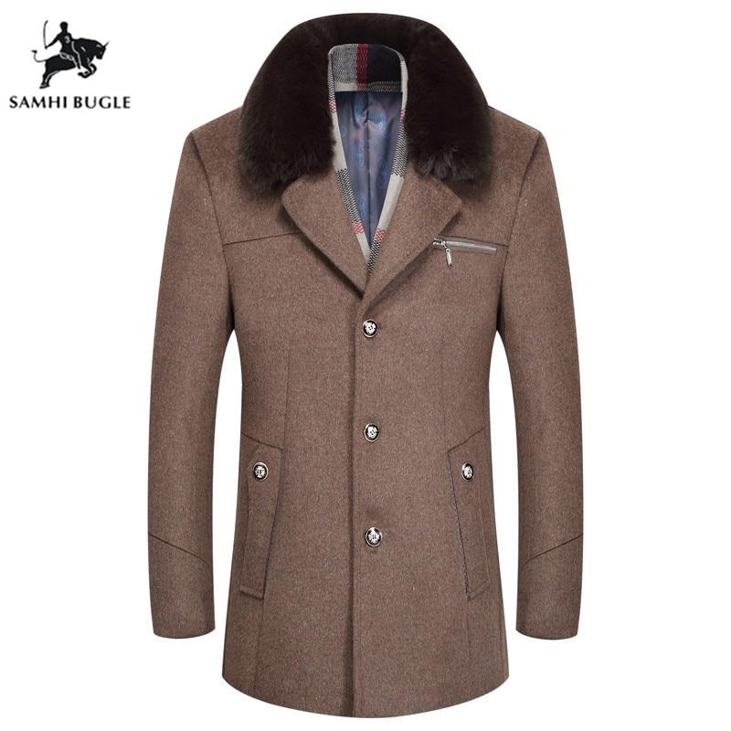Wool Coat Manteaux Longue Thick Winter Fashion Warm Plus Slim-Fit Homme Velvet Men