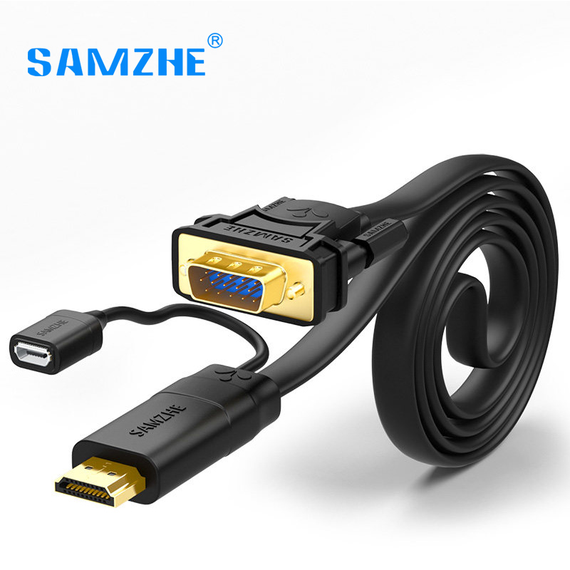 SAMZHE HDMI to VGA Cable Male to Male Video Transmission Cable 1080 P VGA Converter Cable for Laptop Connect to TV Big Screen