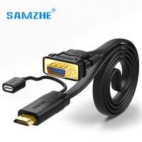 SAMZHE HDMI VGA Kablo Erkek Male Video Iletim Kablosu 1080 P VGA Dönüştürücü Kablo Dizüstü tv'ye Bağlamak için Büyük ekran