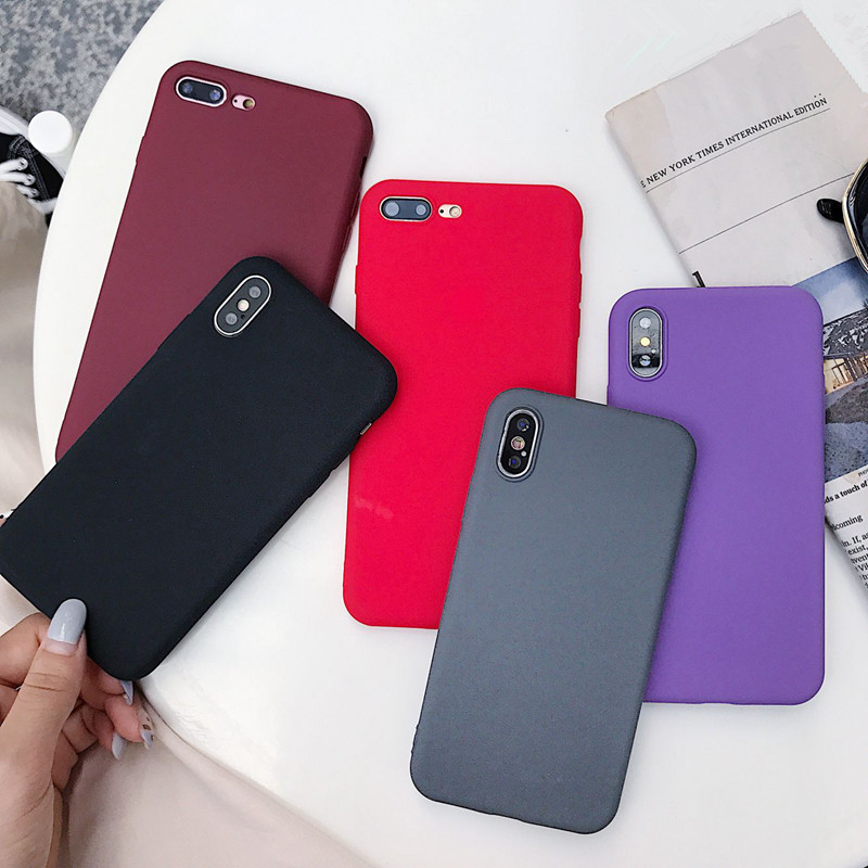 Matte Solid Color Cover Phone Case For Samsung Galaxy A10 A30 A40 A60 A70 M10 M20 M30 S8 S9 S10 Plus Lite Note 9 Soft Back Funda-in Fitted Cases from Cellphones & Telecommunications