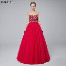 05a3442c5a JaneVini W Stylu Vintage Suknia Balowa Długie Suknie Druhna Sweetheart Haft  Kwiat Wzór Zroszony Księżniczka Fuksja
