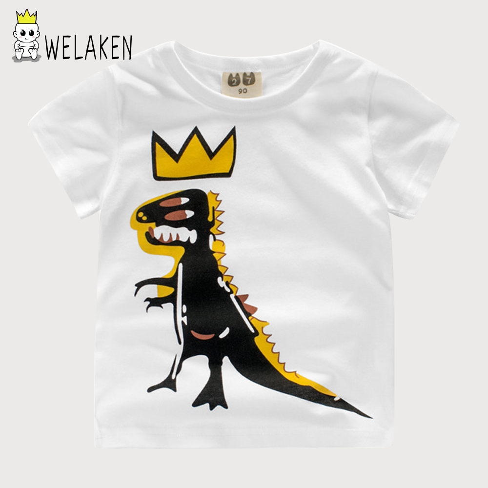 weLaken 2018 New Fashion Boys T-shirts Cartoon Dinosaur Crown Cute Baby Kids Cloth Summer Toddler Cotton Short Sleeve T-shirts