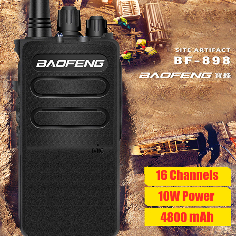 4800mAh 10W Baofeng Walkie Talkie 10km BF 898 Portable HF Transceiver 400-470MHZ Outdoor Intercom Motorcycle Radio Station BF898