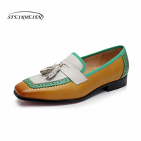 Women Penny Loafer Sheepskin Moccasin Genuine Leather Slip On Square Toe Flats Casual Dress Shoes Handmade