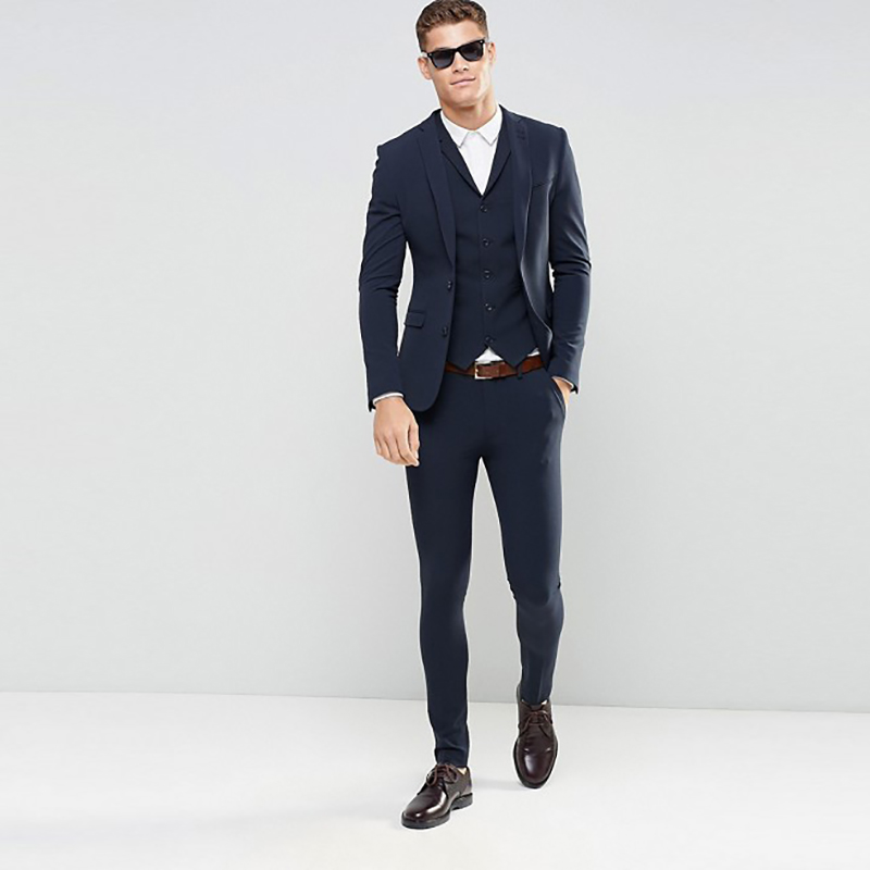 Coat Pant Wedding-Costume Men Suits Slim-Fit Business Navy-Blue Tailor-Made Designs 3-Pieces