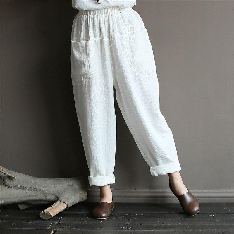 Women Cotton Linen Casual Pants Elastic Waist Spring Pockets Solid Color Vintage Trouser Women Cloths Soft Pants