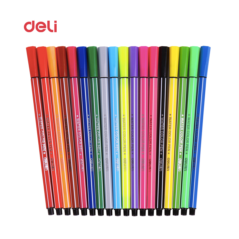 Deli 12/18/24/36 Colors Washable colored Pen painting Markers artist Drawing set student Art Supplies highlights watercolor pens promotion touchfive 80 color art marker set fatty alcoholic dual headed artist sketch markers pen student standard