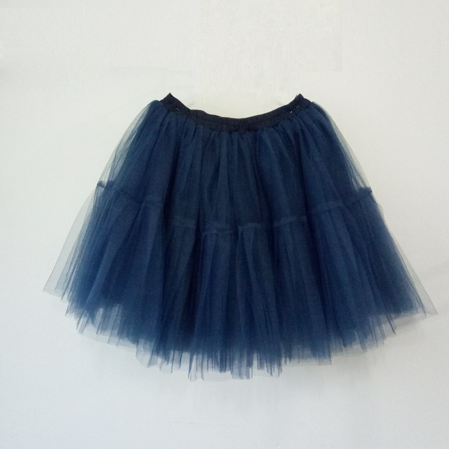 398d1068dc Navy Blue Tutu Tulle Skirts Women 6 Layers Fashion Midi Skirt New Fashion  falda tul mujer Princess Short Party Skirts