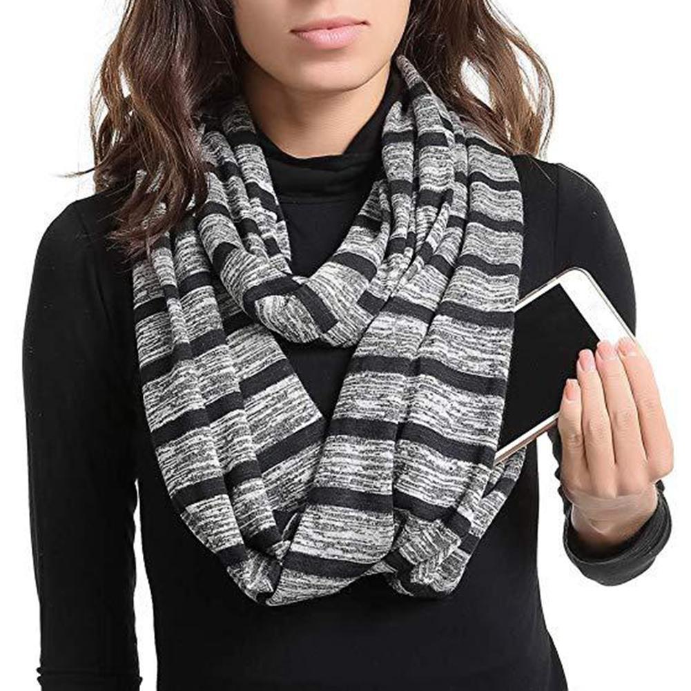 Fashion Unisex Stripe Pattern Stretchy Infinity   Scarf     Wrap   Zipper Pocket Decor new