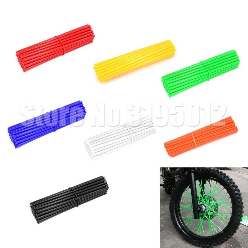 VGEBY 36pcs Dirt Bike Enduro Wheel Motocross Spoke Skins Rims Covers Road Guard Wraps Coats Color : Blue