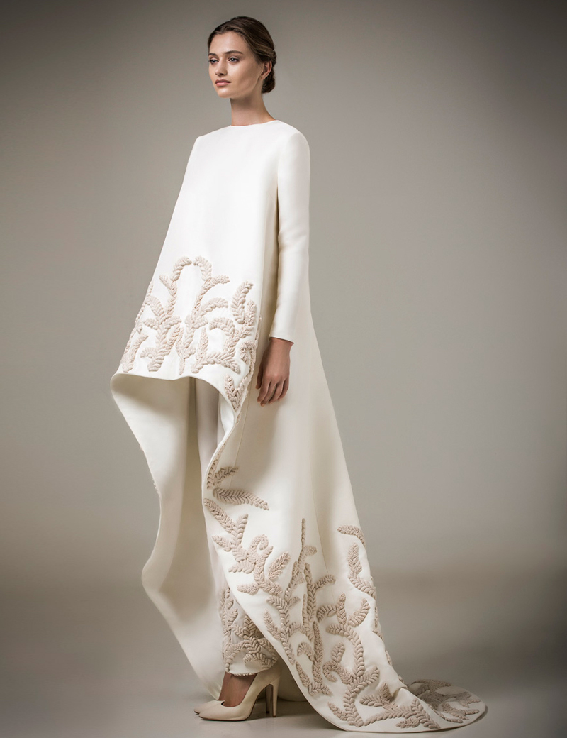 ivory handmade appliques muslim evening dresses long sleeves 2016 chic high low moroccan kaftan. Black Bedroom Furniture Sets. Home Design Ideas