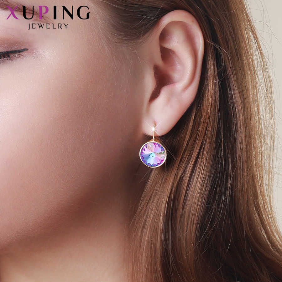 Xupingg Newest Design  Hoops Earrings   Crystals from Swarovski Vintage Round Jewelry for Women Girls Gifts M85-20459