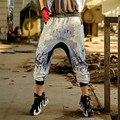 2016 Хип-Хоп Танец Шаровары Свободные Случайные Печатных Брюки Для Женщин Уличной Осень Зима Новый Плюс Размер Высокое Качество