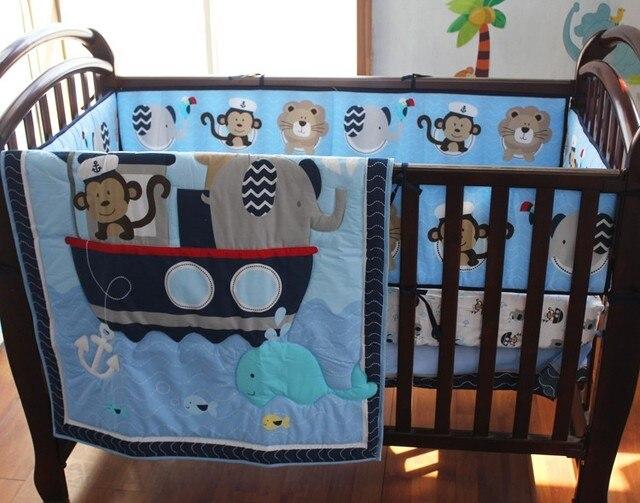 7 Unids ropa de cama cuna conjunto Bordado Mono elefante navegación ...