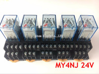 5PCS MY4NJ DC24V Coil 5A 4NO 4NC Green LED Indicator Power Relay DIN Rail 14 Pin