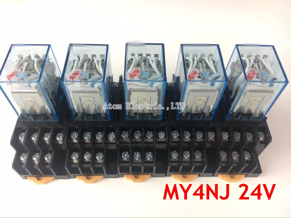 5PCS MY4NJ DC AC 24V Coil 5A 4NO 4NC Green LED Indicator Power Relay DIN Rail 14 Pin time relay with socket base hh52pl dc 220v coil 8 pins dpdt green led indicator light power relay 5 pcs free shipping