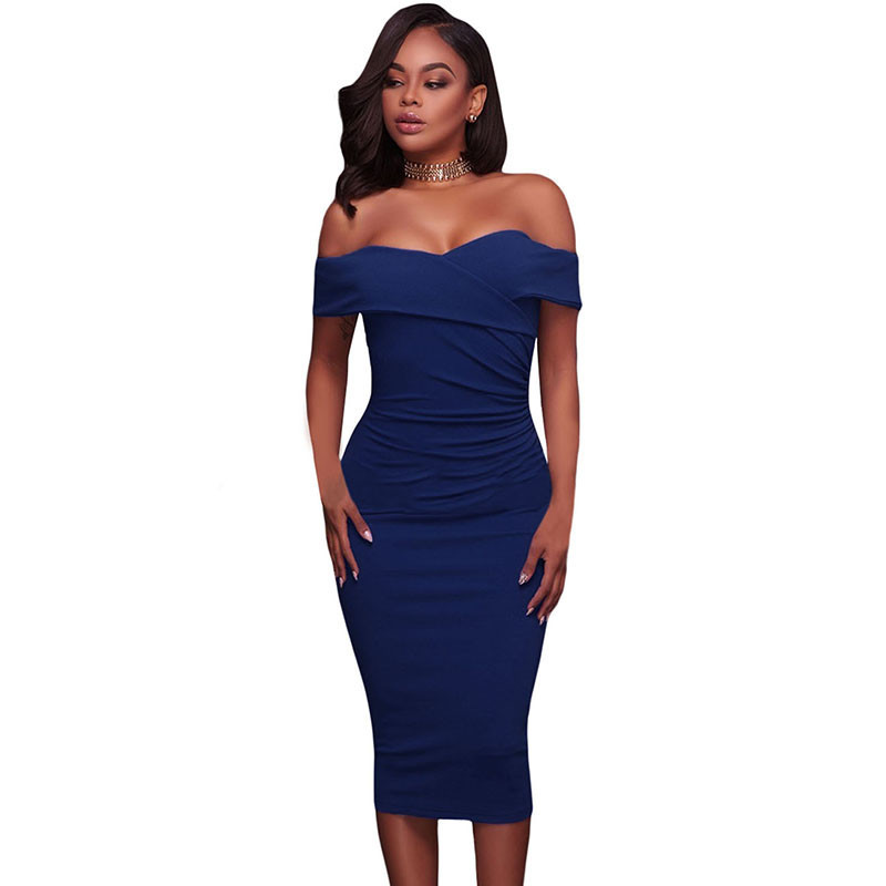 ADEWEL Women Sexy Off Shoulder Strapless Midi Dress Ruched Elegant Bodycon Dress Party Clubwear Pencil dress 41