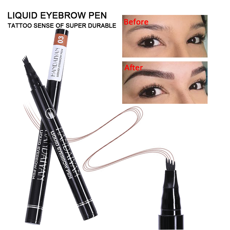 HANDAIYAN 4 Head Fork Eyebrow Tattoo Pen Waterproof Natural Black Brown Color Microblading Eye brow Makeup Pencil HOT