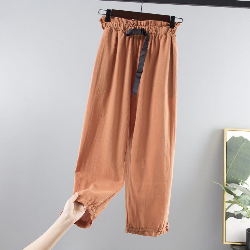Summer Thin Cotton Linen Loose   Wide     Leg     Pants   Women Large size Streetwear style Student Elastic Waist Ankle Length   Pants   Female
