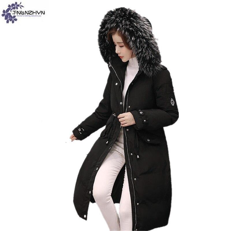 TNLNZHYN Women's clothing Cotton coat Winter New Fashion Big yards Hooded fur collar Thickening Female cotton Outerwear Wu20