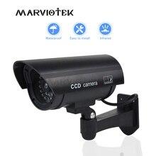 עמיד למים מזויף מצלמה חיצוני Dummy CCTV מצלמה עם מהבהב אדום LED מציאותי מראה כדור מקורה אבטחת בית מזויף מצלמה