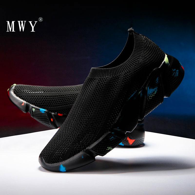 MWY Women Casual Shoes Men Vulcanize Shoes Schoenen Vrouw Hollow Stretch Socks Sneakers Breathable Soft Low Top Chunky Shoes
