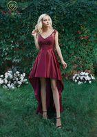 Специальные короткое спереди и длинное сзади Вечерние платья шеи Элегантный V шеи Фиолетовый/вина красные бусинки Кристалл Асимметричный в
