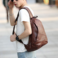 2017 Men's PU Leather Vintage Travel Riding Irregular Triangle Messenger Shoulder Sling Chest Casual Bag