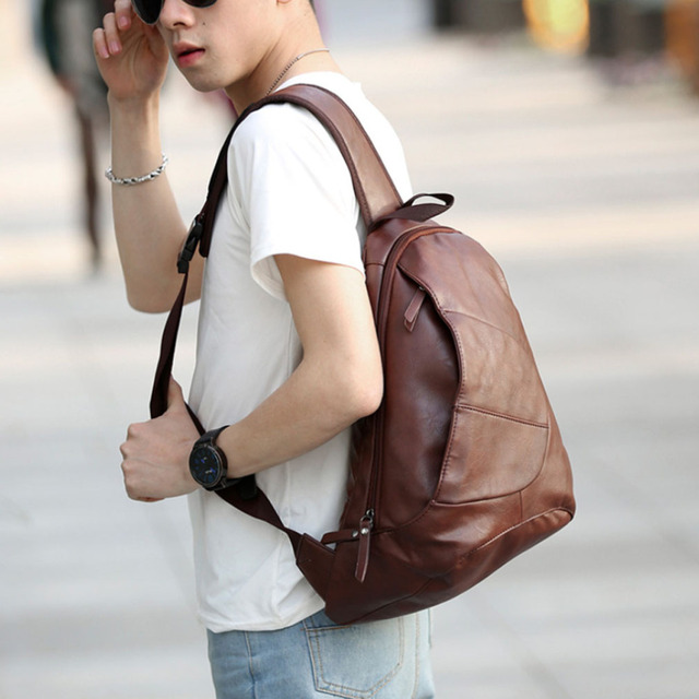 Men's PU Leather Vintage Sling Chest Casual Bag Travel Riding Hiking Irregular Triangle Cross Body Messenger Shoulder Pouch