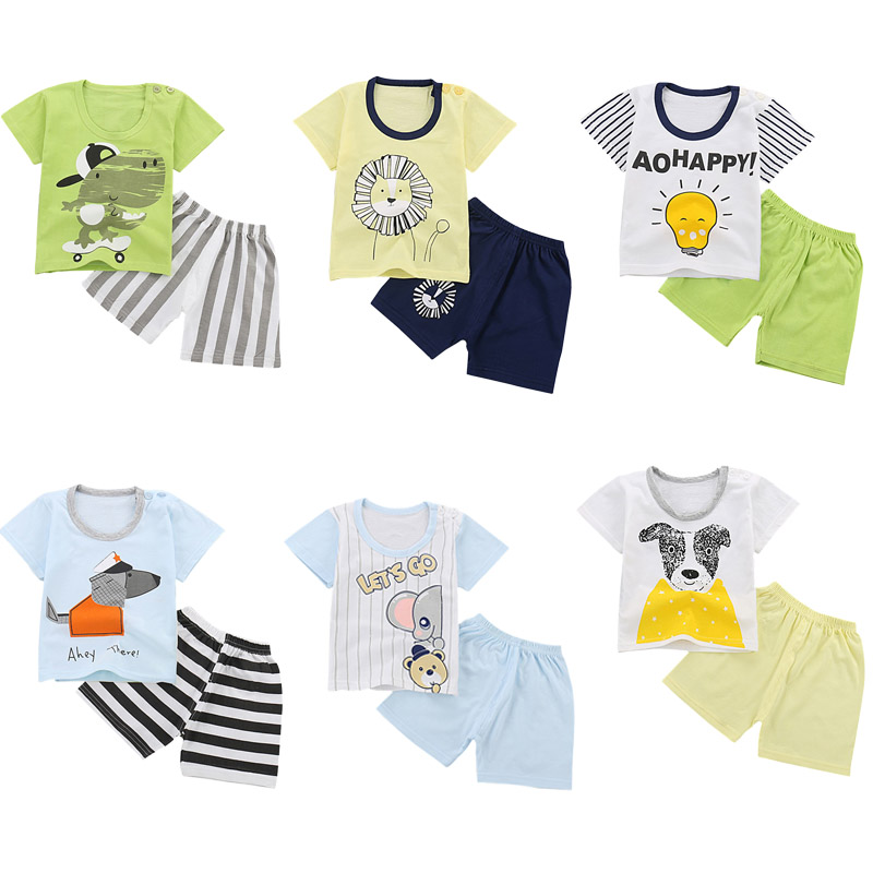 Summer Girls Boys Kids Cute Cartoon Short Sleeve Tops Tees Printed Animals + Shorts Pants Clothing Cotton 2 Pcs Sets