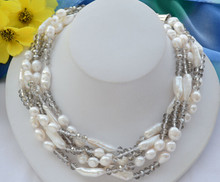 bjc 0001874 5strands NATURE white baroque BIWA FW pearl faceted crystal necklace 18inch(China)