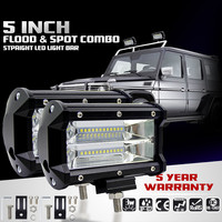 Auto 2pcs 12V 5INCH 72W Two Rows Led Light Bar Modified Off Road Lights Roof Light