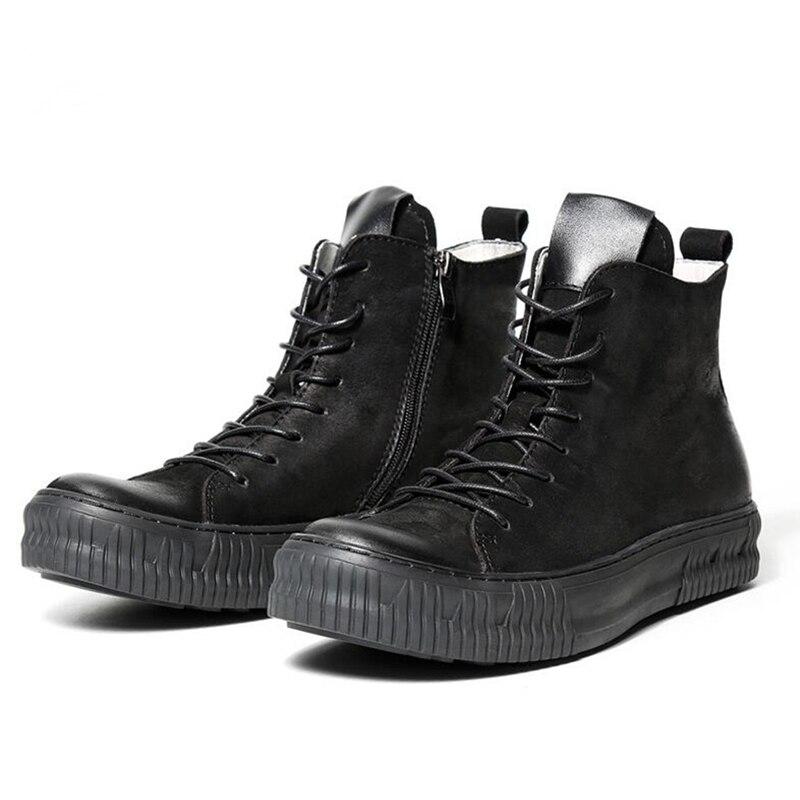 Polecam!!! Nowe męskie buty z prawdziwej skóry okrągłe Toe zasznurować buty jeździeckie człowiek biznesu zimowe buty pustynne w Podstawowe buty od Buty na  Grupa 2