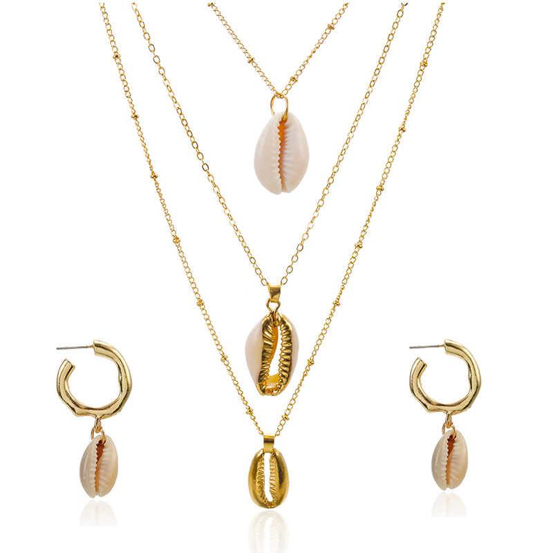 Three Layers of Shell Pendant Necklace Natural Shell Women Seashell Necklace set Bohemian Jewelry
