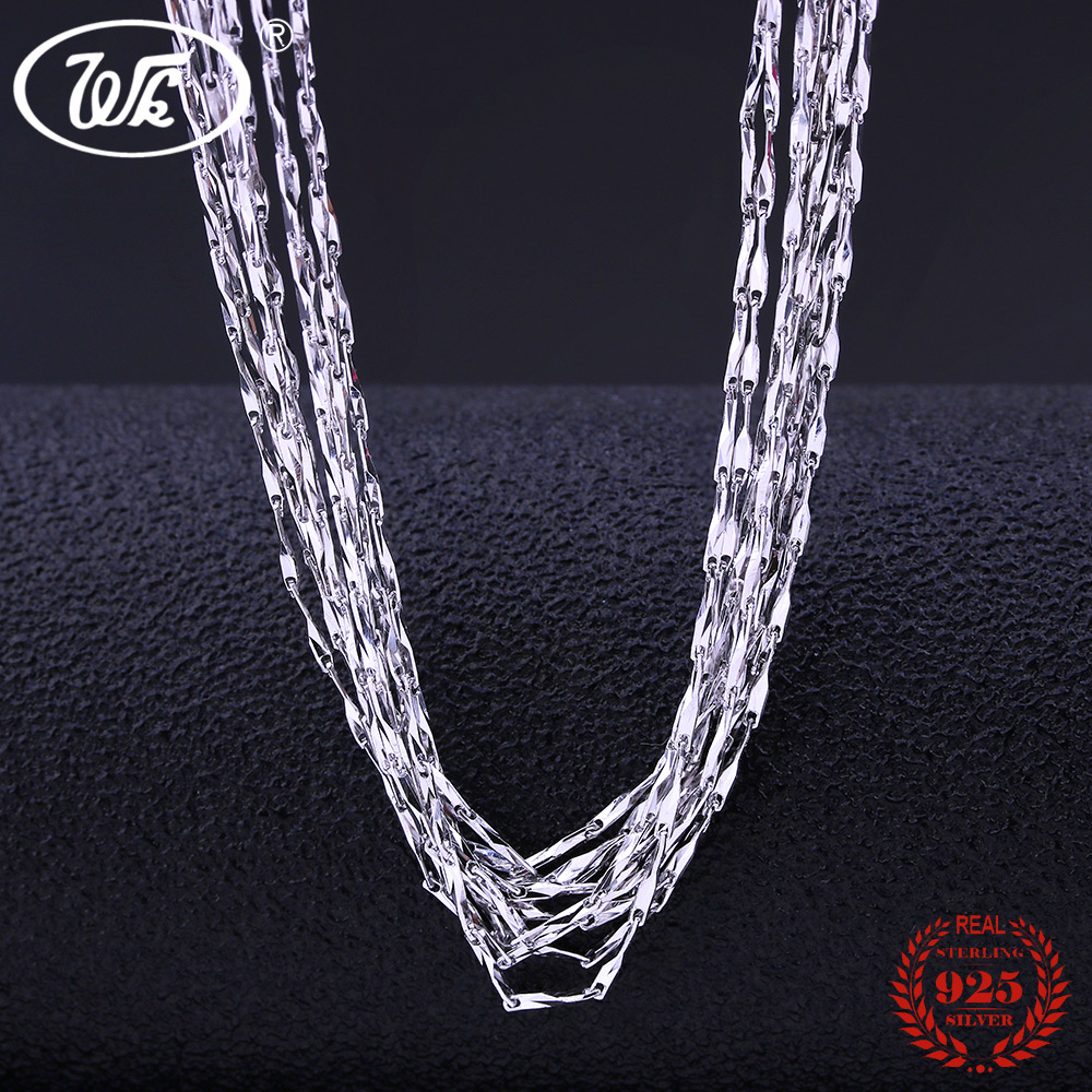 WK Bulk 5PCS 10PCS 20PCS 50PCS 100PCS 925 Sterling Silver Chain Necklace Jewelry Wholesale Lots Chaine Argent 925 40 45 CM NA026 wholesale bulk 20mm 100pcs handmade round clay