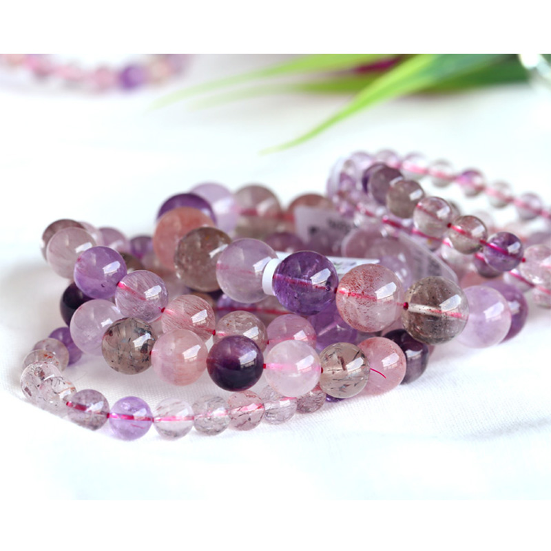 Pink Purple Natural Genuine Multi Colors Mix Super Seven 7 Finish Stretch Bracelet Round Beads Melody Stone 6-18mmPink Purple Natural Genuine Multi Colors Mix Super Seven 7 Finish Stretch Bracelet Round Beads Melody Stone 6-18mm