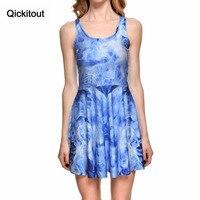 Qickitout платье 2016 новое поступление Большие размеры женское платье цифровой печати психоделический синий дым платье без рукавов пляжное плат...