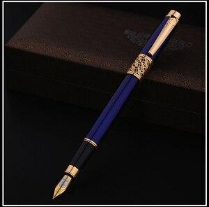 Image 3 - Pluma estilográfica Rollerball de 0,5mm azul y negro de lujo, juego de tinta de 0,8mm plumín curvo, bolígrafos artísticos, bolígrafos de Metal para regalo de negocios, papelería