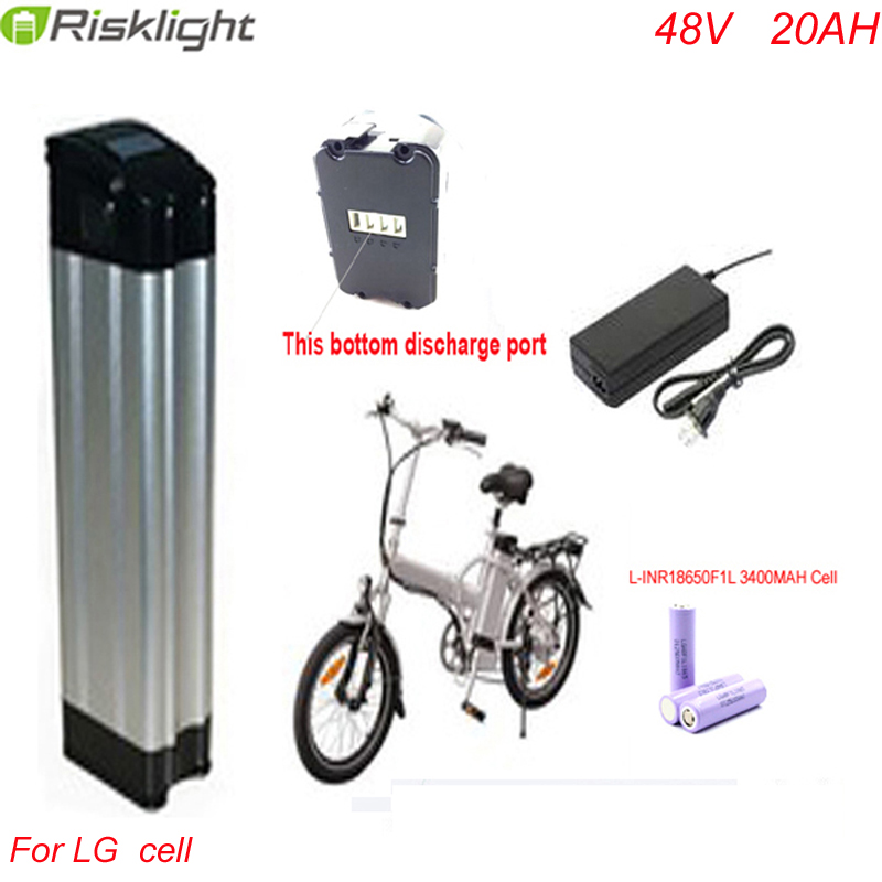 Bottom discharge ebike battery electric bike battery 48V 20Ah,for bafang/8fun 1000W motor with Aluminium Case For LG 18650 cell bottom discharge 48 volt 750w bafang electric bike battery 48v 8ah lithium ion battery pack silver fish akku with usb port