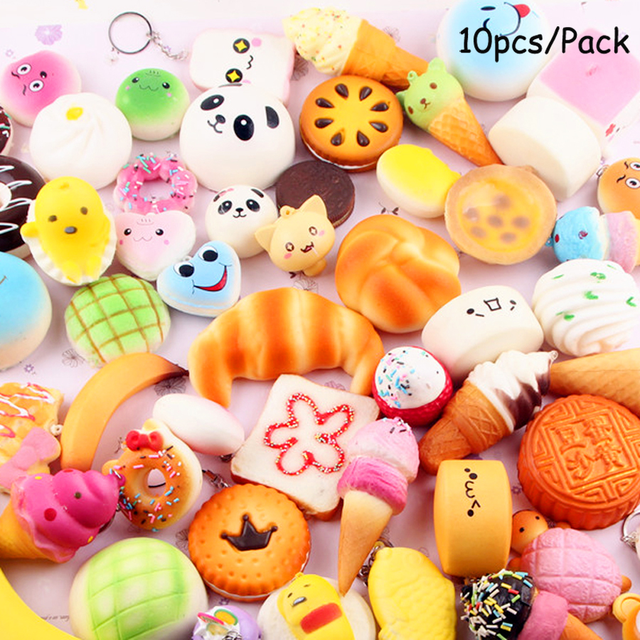 10 Piece/Set Anti-stress Soft Squishy Cake Squish Set Mini Toys Slow Rising Squish Bread Sets Of Squishies Pendant Accessories