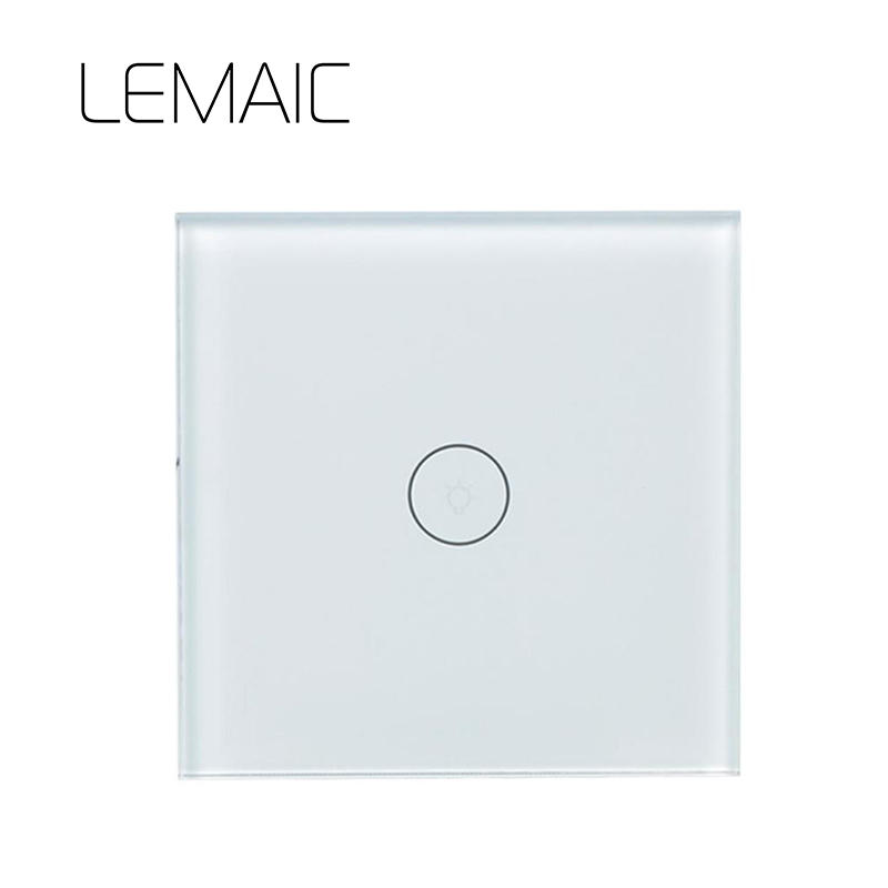 LEMAIC EU Remote Control Switch 1 Gang 1 Way Smart Wall Touch Switch+LED Indicator Crystal Glass Switch Panel Smart Home qiachip remote control switch 2 gang 1 way uk eu smart wall touch switch led indicator crystal glass switch panel smart home