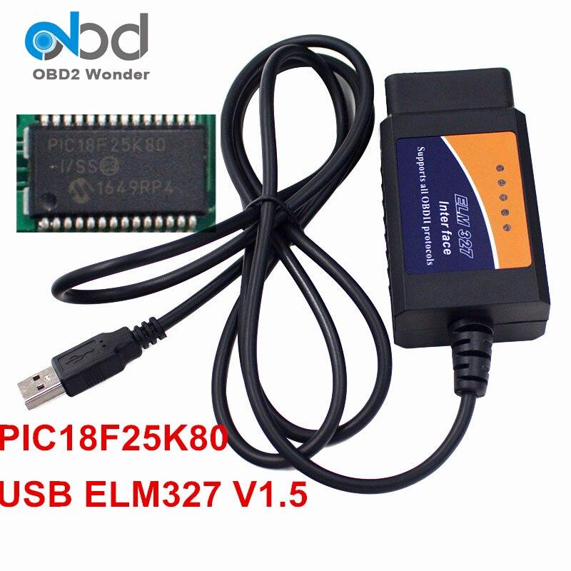 La mejor calidad ELM327 USB V1.5 OBD2 Cable de diagnóstico con Chip PIC18F25K80 ELM 327 ferretería 1,5 OBD II escáner ELM 327 USB 25K80 Super Mini Elm327 Bluetooth OBD2 V1.5 Elm 327 V 1,5 OBD 2 herramienta de diagnóstico del coche escáner Elm-327 OBDII adaptador herramienta de diagnóstico automático