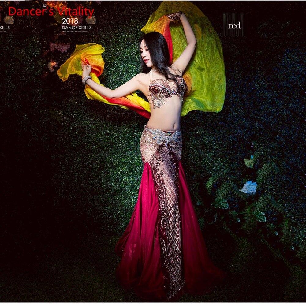 3 Piece Bra Skirt Hand sleeve Women Luxurious Fishtail Costume Sexy Oriental Dance Performance Show Red